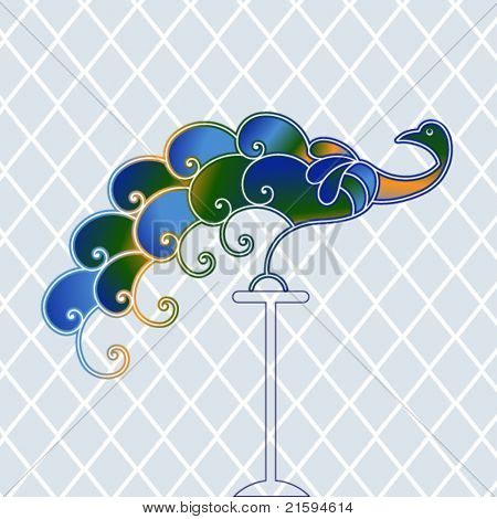 Peacock with diamond pattern background