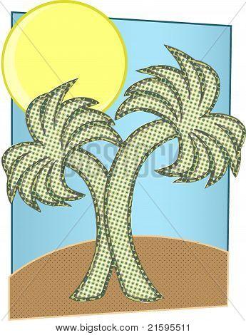 Halftone Palm Trees Big Sun On Island
