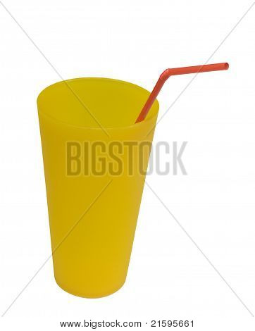reusable yellow cup with red straw