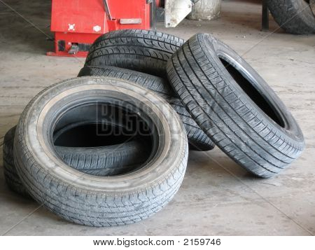 Pile Of Used Discarded Tires