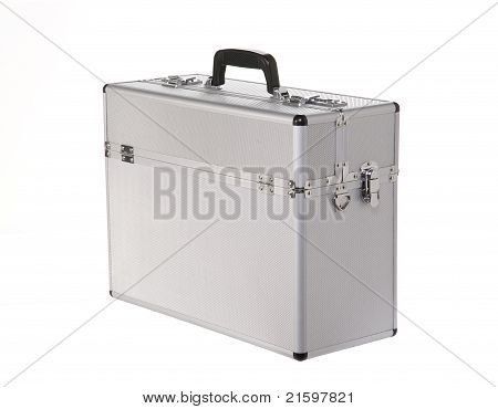 Aluminum suitcase in pilot-style