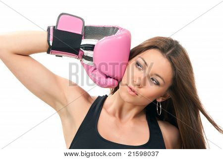 Beautiful Boxing Woman  In Pink And Black Box Gloves