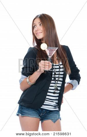 Woman Drinking Martini Cocktail