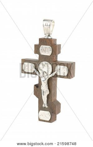 silver and wooden cross