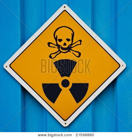 Deadly radiation warning sign