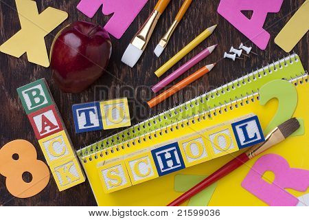 Wooden Blocks Back To School