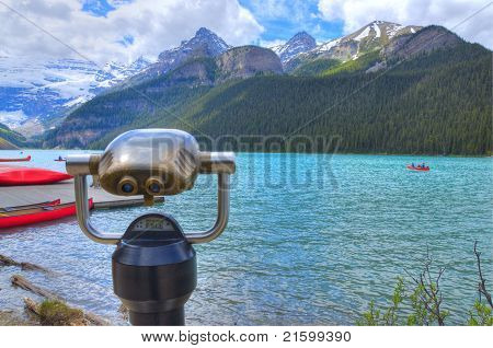Hdr Coin Operated Viewfinder Telescope Overlooking Lake Louise