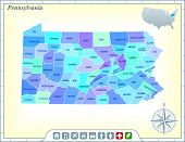 Image of pennsylvania state map with community assistance and activates icons original illustration.
