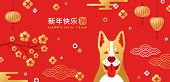 Chinese New Year Card With Traditional Asian Patterns And Dog poster