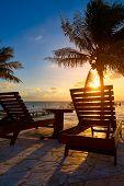 Riviera Maya sunrise beach hammocks and palm trees in Mayan Mexico poster