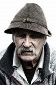 Closeup Profile of Aged Man With  Grey Mustache poster