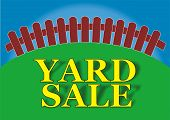 stock photo of yard sale  - Yard sale sign in the backyard of the house - JPG