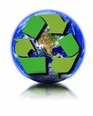 picture of reprocess  - Earth globe and recycle symbol against white background small reflection in front - JPG
