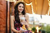 People, Food, Rest And Lifestyle Concept. Brunette Woman With Long Hair, Wearing Summer Dress And Ha poster