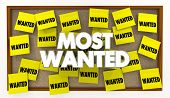 Most Wanted Desired List Bulletin Board Sticky Notes 3d Illustration poster