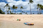 stock photo of boogie board  - Boogie board and beach balls on a beautiful tropical beach