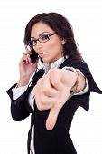 Businesswoman With Thumb Down Gesture