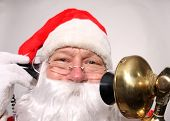 Santa Claus talks on his Golden Candle Stick Telephone. Santa on the Telephone poster