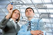 image of marketing strategy  - Business people drawing on - JPG