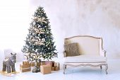 Large White Living Room With A Vintage Sofa And A Large Christmas Tree poster
