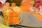 picture of thank you card  - table setting with gift - JPG