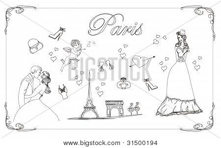 Paris fashion doodles set , vector illustration