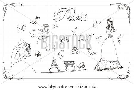 Paris fashion doodles set , vector illustration