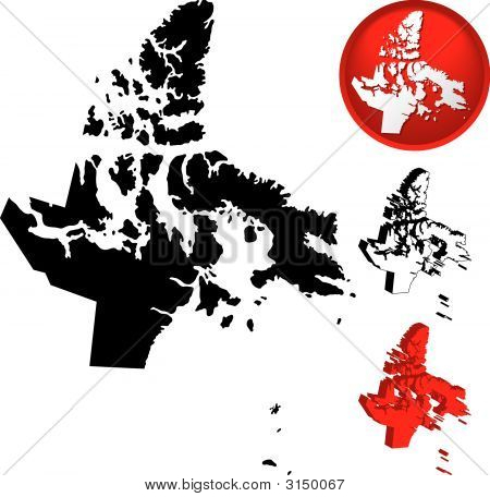 Detailed Map Of Nunavut, Canada