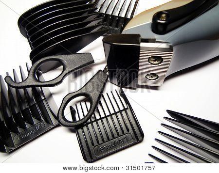 accessories of hairdresser in an assortment