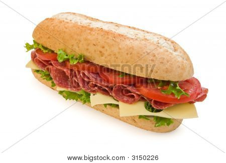 Whole Wheat Salami Submarine Sandwich With Cheese And Tomatoes