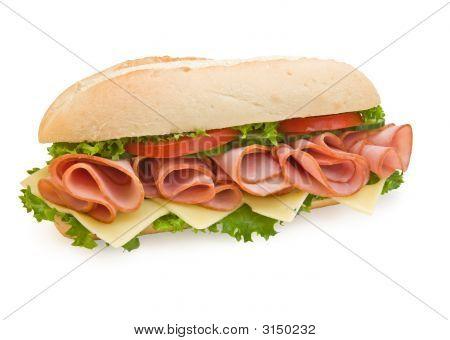 Ham & Swiss Sub Sandwich On White Background