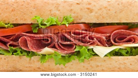 Close Up Of A Salami Submarine Sandwich