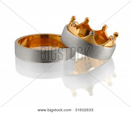 Two Wedding Rings With Diamond Isolated On White