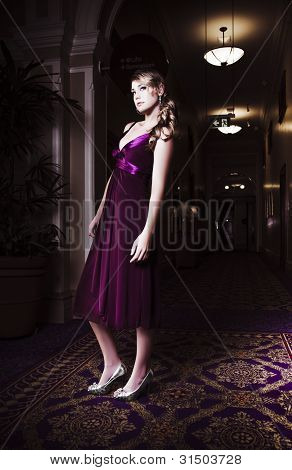 Woman In Hotel Lobby