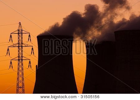 Nuclear Power Plant During Sunset