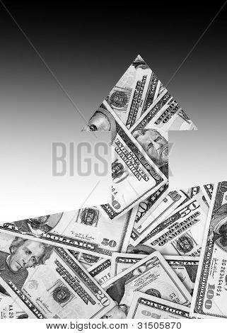 Money arrow pointing upwards