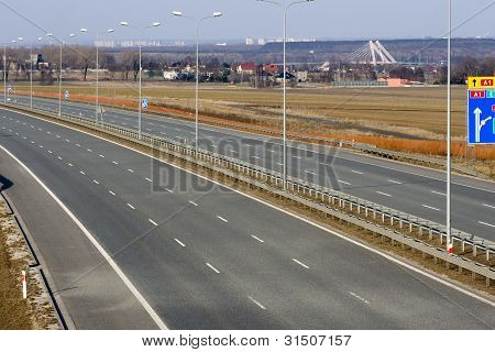 Empty A1 Motorway In Poland