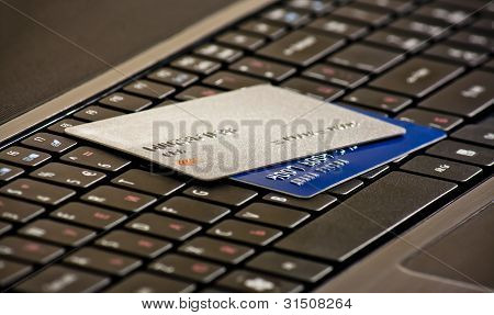Credits Cards On A Computer Keyboard