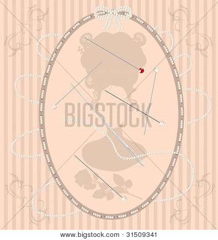 vintage beige background with beads needle and pin