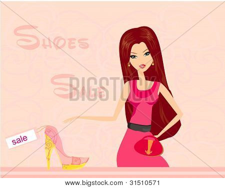 Stock Vector Illustration: Fashion girl shopping in shoe shop