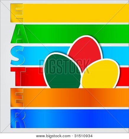 Vector Rainbow Paper Easter Egg Card