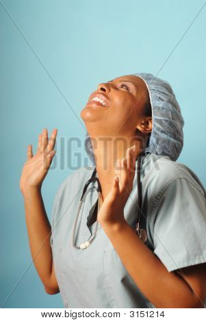 Excited Nurse Rejoicing