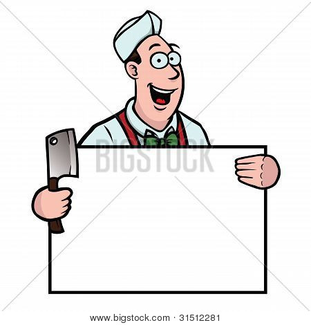 Butcher With A Cleaver And Sign