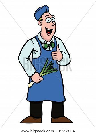 Greengrocer With Leek And His Thumbs Up