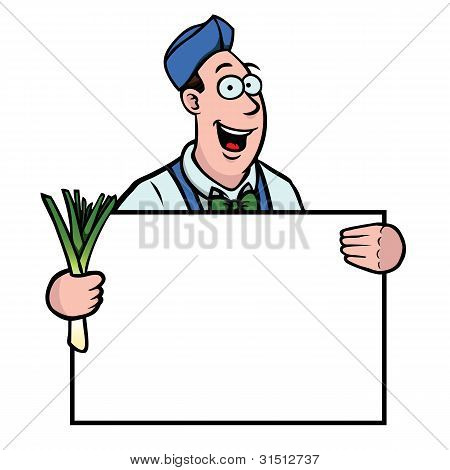 Greengrocer With Leek And Sign