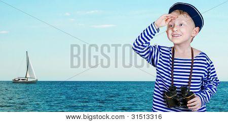 Little Sailor With Binoculars 1