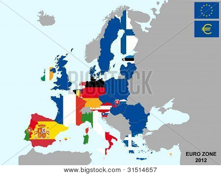 Mapa de la zona del euro