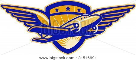 Propeller Airplane Shield Wings Retro