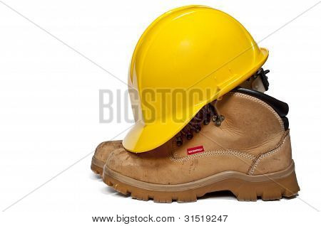 Hard Hat And Work Boots