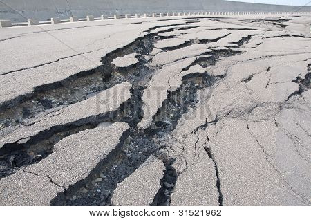Cracked road after the disaster